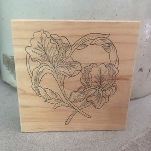 Wood block ink rubber stamp iris heart design